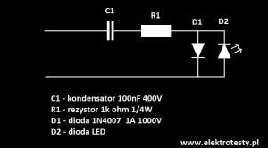 Schemat podłączenia diody led pod napięcie sieciowe